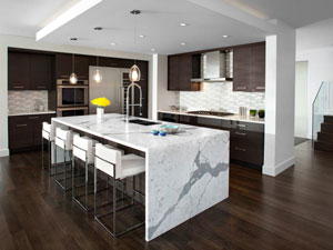 Modern Kitchen With Marble Waterfall Island